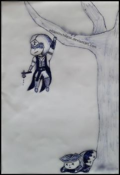 //Old Sketch// AC III: Just hanging here... by AssassinCheese