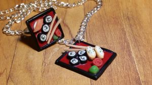 Red Sushi Plate Jewelry Set by ninja2of8