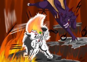 Amaterasu VS Malefor by Resiri