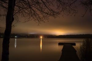 Autumn night on the lake by BIREL