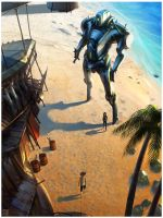 Mecha Flea Market on the Beach by Hideyoshi