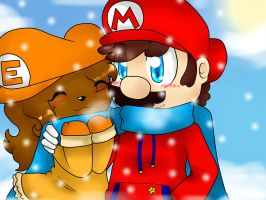 .: Mario and Estefi winter :. by Estefaniia-colacao