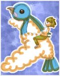 Wally Riding Altaria by tenko72