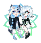 Chibi couple style 1 Commission for Momoeko by AruOwlsArts