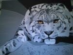 Snow leopard - acrylic on canv by elsarose