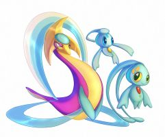 Cresselia Phione and Manaphy