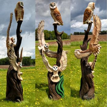 triple barn owl sculpt by jackaburl