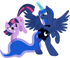 Vector Twilight Sparkle vs Luna by KyssS by KyssS90