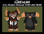 Gremlins - Evil Female Mogwais Viper and Noire by TheCiemgeCorner