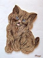 Quilled cat by pinterzsu