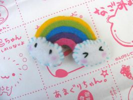 Kawaii Felt rainbow brooch by morbidfaerytale