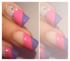 Pink and purple manicure by Ianna89