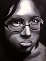 Charcoal Self Portrait by Kagamiwizard