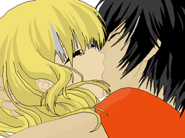 Percy and Annabeth Kiss by TheAngelicScribe