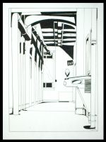 One Point Perspective Hallway by aoiyoru