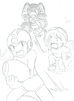 Megaman and Bass...and Kylee by SonicRocksMySocks