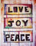 Love Joy Peace Watercolor by JesseRayus