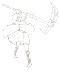 RWBY Ruby Line art by ChibiIlliterate1