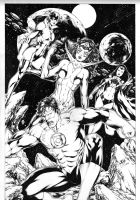 Green Lantern, Star Sapphire, Bleez and Lyssa Drak by Leomatos2014