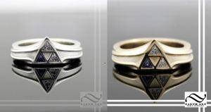 Silver and gold zelda triforce rings by mooredesign13