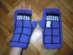 TARDIS fingerless gloves by Thyme-Sprite