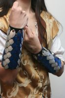 Blue and Silver Scalemaille and Leather Bracers by Versalla