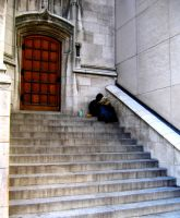 Hobo Reading On Church Steps by cycladic