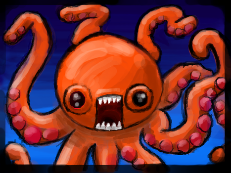 Orange Octopus by cl0ckw0rked