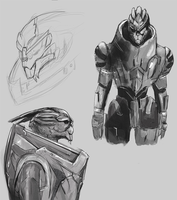 Garrus Sketches by FallonBeaumont