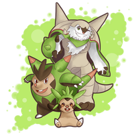 COMMISSION: Chespin, Quilladin and Chesnaught by SeviYummy