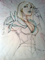 Emma Frost sketch for commission by danablackarts
