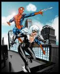 Spidey and Blackcat by J-Skipper