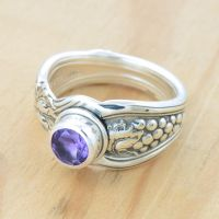 Spoon Ring with Grapes and Amethyst by metalsmitten