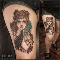 Lady and a cat by Santi Bord ,Think Tattoo Parlour by VONTHINK