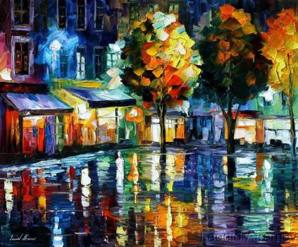Afremov NIGHT SHOPS Original A by Leonidafremov