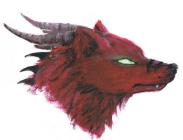 Dragonicwolf head painting by dragonicwolf