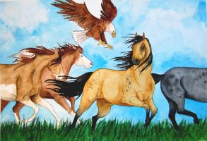 Eagle and Horses by Deslichen