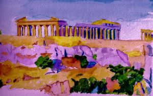 Parthenon Greece Watercolour by 80sdisco