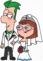 Ferb and Gretchen's Wedded Bliss by nintendomaximus