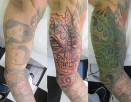 Green Skul cover-up by micaeltattoo