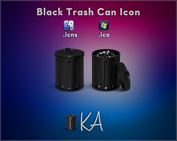 Black Trash Can Icon by AaronOlive