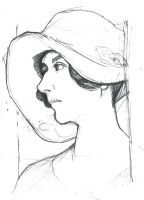 Lady in Hat Sketch by BebeRequin