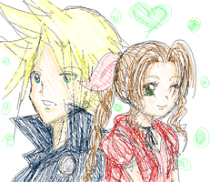 Cloud and Aerith by Akari-K