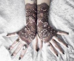 Shika Lace Fingerless Gloves by ZenAndCoffee