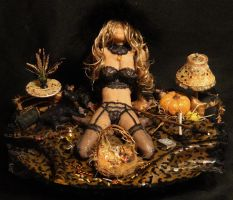 OOAK Halloween Trick Or Treat Witch Mixed Media 1 by GeorgeCalado