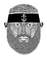 Headband Beard Man with Anchor by MulgaTheArtist