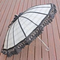 White Black Striped Parasol by dbvictoria