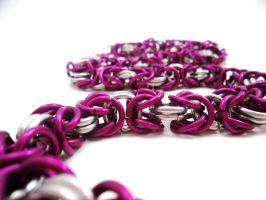 Purple and Silver Byzantine Necklace by SerenityinChains