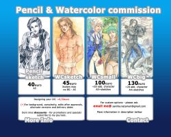Pencil and Watercolor commission information by saniika