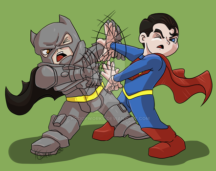 Bats vs. Sups Chibi Fight by KCoopWorks